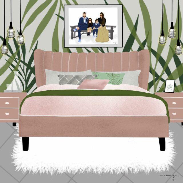 Got inspired...  @pinterest  - - - - - - - - - #drawing #illustration #artmash #digitalart #Digitalartwork #art #arts #artist #makeart #summer #ipadpro #pencil #magic #procreate #viral #creation #gift #picturetodrawing #giftidea #customportrait #customdigitalillustration #familyillustration #giftidea #christmas #cozy #bedroom #bedroomdecor #wayfair #trending #pinkandgreen #bedroominspo